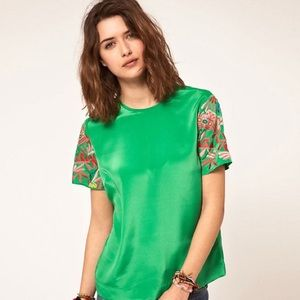 ASOS Woven T-Shirt With Embroidered Sleeves Green